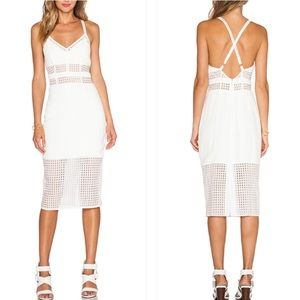 Nbd shut it down white lattice lace midi dress